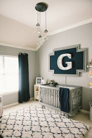 modern grey navy and white nursery