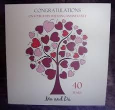 Personalised Handmade Ruby Wedding Anniversary Card Hearts Tree