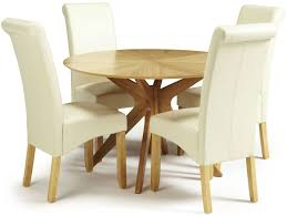 serene bexley oak round dining set with 4 kingston cream faux leather chairs 120cm