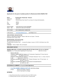 Mechanical Inspector Resume