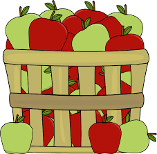 green and red apples in basket. basket of red and green apples in s