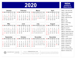 2020 Calendar Printable With Us Holidays 2020 Calendar With Indian Holidays Pdf