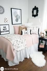 black blush rose gold marble dorm bedding set