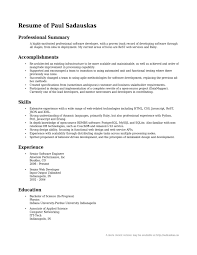 Examples Of Professional Summary For A Resume Resume For Your