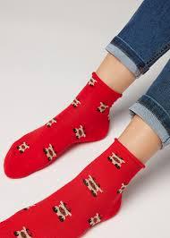 Chinese <b>New Year Pattern</b> Cotton Ankle Socks - - Calzedonia