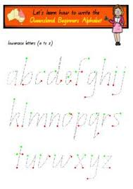 Queensland Cursive Alphabet Chart Queensland Beginners Handwriting Templates Version2