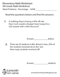 worksheets 4th grade word problems free decimals 5th 5th grade ...