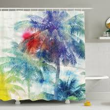 palm tree retro watercolor silhouettes of palm trees stains on picture tropical paradise shower curtain set