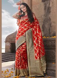 Traditional Designer Sarees Online Weaving Red Traditional Designer Saree