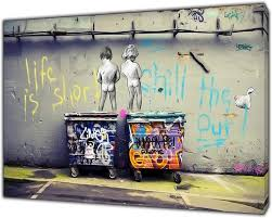 Banksy Life is Short Kids Art Reprint on Framed Canvas Wall Art Home  Decoration 24'' x 16 inch -18mm Depth: Amazon.co.uk: Kitchen & Home