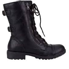 lucky top soda pack72 dome girls faux leather combat boots black dome 2 0