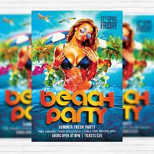 Beach Flyer Beach Party Premium Flyer Template Facebook Cover