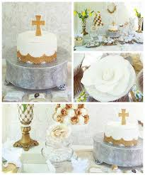 Karas Party Ideas White Gold Baptism Party