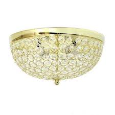 2 light elipse gold crystal flush mount ceiling light