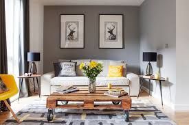 furnitures awesome living room with small sofa and drum shaped black table lamp also pallet