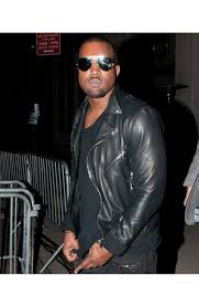 kanye west motor biker style black leather jacket for mens