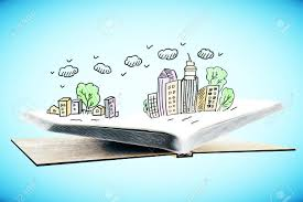 open book with creative city sketch on blue background 3d rendering stock photo 63016742