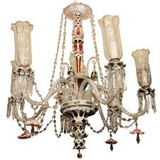 bohemian green ruby red and white overlay glass chandelier