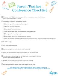 Checklist Template Samples Parent Teachernce Free Editable Form