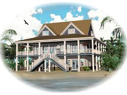 howell creek raised coastal home plan d house planore beach on pilings elevated