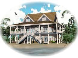 howell creek raised coastal home plan d house planore beach on pilings elevated