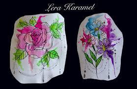 сделать татуировку акварельные цветы на икра ноги в городе москва