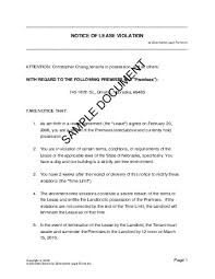 Notice Of Lease Violation (Usa) - Legal Templates - Agreements ...