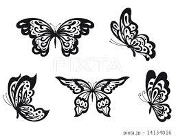 シルエット 蝶 飛ぶ ちょうちょ 羽ばたくのイラスト素材 Pixta