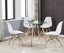 Greenforest Dining Table Modern Round Glass Clear Table For Kitchen