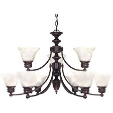 glomar 9 light old bronze chandelier with alabaster glass bell shades