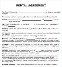Basic Rental Agreement Template Residential Rental Contract Template