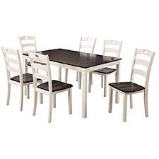 harper bright designs 7 pieces dining table set for 6 person kitchen wood table and chairs white and espresso