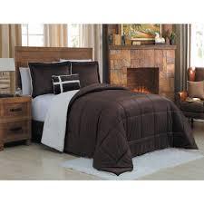 geneva home fashion micro sherpa 3 piece twin chocolate comforter