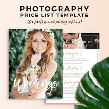 Wedding Photography Price Sheet Template - Olivia