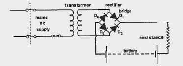 marine engineering of electrical and engine department batteries for converting ac into dc several components are required as shown in the circuit diagram above first of all the ac is stepped down to the required voltage