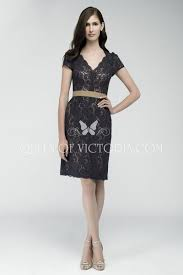 Short Sleeve V Neck Charcoal Lace Knee Length Sheath Bridesmaid