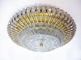 flushmount chandelier crystal beads on brass austria 1950s hover to zoom
