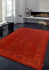 rugsville vintage kashan orange red overdyed rug 120x180cm