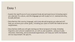 boren awards the application process deadlines ◦ undergraduate  16 essay