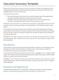Executive Summary Free Business Plans Pdf Word Template Hubspot