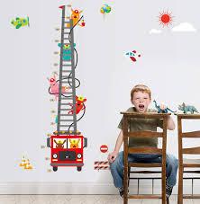 Fire Truck Aerial Ladder Height Measurement Wall Sticker Kids Boys Room Nursery Growth Chart Wall Decal Cartoon Animal Wallpaper