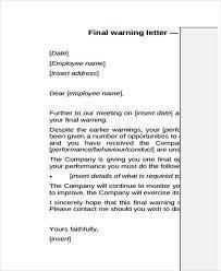 9 final warning letter template 9