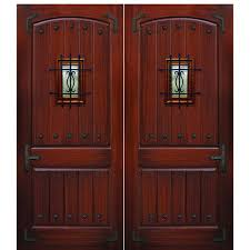 84 x96 2 panel v grooved mahogany wood grain fiberglass double front entry doors with clavos speakeasy and straps