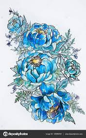 пионы эскиз для тату эскиз красивых цветущих пионов на белом фоне