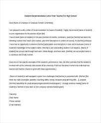 Recommendation Letter From Employer For Student Free 7 Sample Teacher Recommendation Letters In Pdf Doc
