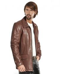 mens leather coat with flap patch pockets