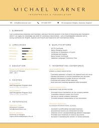 Organized Interpreter And Translator Resume Templates By Canva Impressive Interpreter Resume