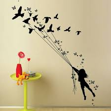 girl with birds wall art