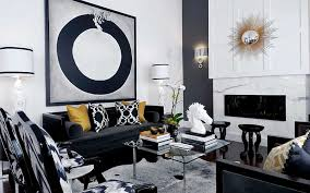 square wood picture art round black lacquered wood bar stool yellow fabric ushion white horses sculpture black and chrome furniture