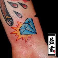 синий бриллиант с красным огнем тату на запястье у девушки